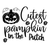 abóbora mais fofa na inscrição de remendo no pôster de halloween vetor