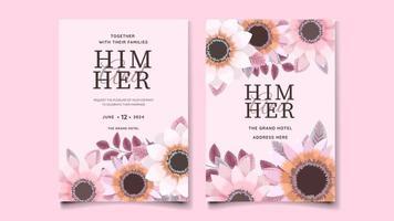 modelo de conjunto de cartão de convite de casamento floral flores folhas natureza vetor