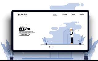 ilustração plana modelo da web de oração muçulmana vetor