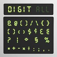 Conjunto de caracteres digitais de um tipo de letra em uma tela, ilustração vetorial