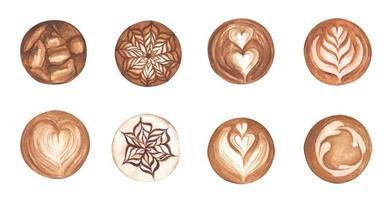 conjunto latte art, formato de coração, café gelado, café latte art. aquarela. vetor