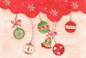 bola de Natal pendurada no fundo da temporada de inverno do céu vermelho. aquarela vetor