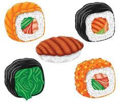 sushi comida japonesa em estilo design plano vetor