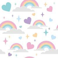 padrão de arco-íris com coração de amor e enfeite de estrela vetor
