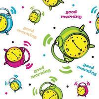 padrão de relógio colorido com texto de bom dia vetor