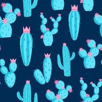 ilustração em vetor padrão cactos azuis