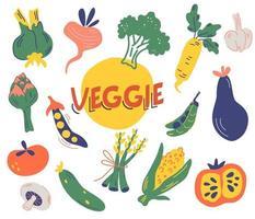 grande conjunto de vegetais diferentes. colheita de verduras. vetor