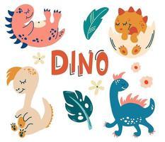 definido com dinossauros fofos. animais fofos do bebê. réptil. vetor