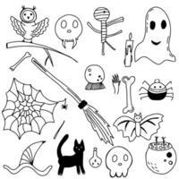conjunto de elementos de design do vetor bruxa mágica. desenhado à mão, doodle.