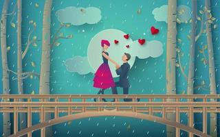 ilustração de casal romântico na floresta chuvosa vetor