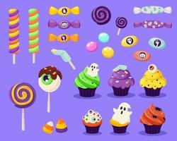 feliz Dia das Bruxas. conjunto de doces e doces assustadores. vetor