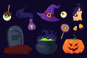 feliz halloween símbolos pote, chapéu de bruxa, poção, velas, túmulo vetor