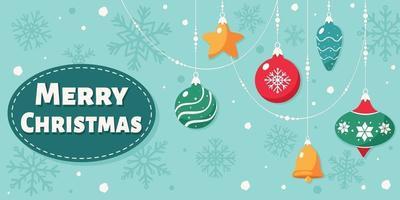 cartão de feliz Natal. decorações de Natal. vetor