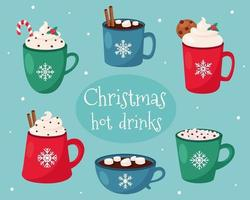 cartão de feliz natal. coleção de bebidas quentes de Natal. vetor
