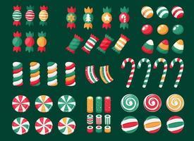 feliz Natal. grande conjunto de doces e bombons de natal vetor