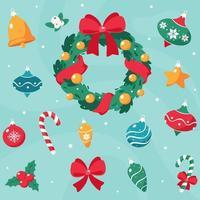 cartão de feliz natal. coleção de decorações de natal. vetor