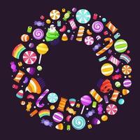 quadro de círculo de doces e balas de halloween. feliz Dia das Bruxas. vetor
