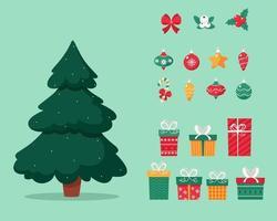 árvore de natal com presentes e brinquedos. vetor