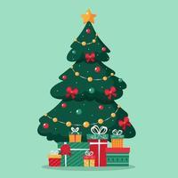 árvore de natal com presentes. feliz Natal. vetor