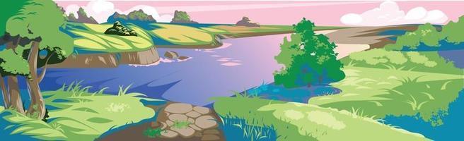 paisagem realista panorâmica, rio sinuoso - vetor