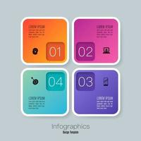 design de infográficos e ícones com 4 etapas vetor