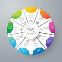 infográficos e ícones de arte em papel com 9 etapas vetor