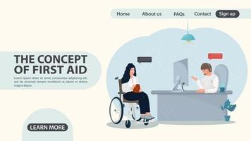 uma menina em uma cadeira de rodas acessa o design da página da web da sala de emergência vetor