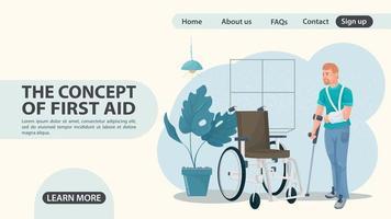 um homem com uma lesão no braço se aproxima do design da página da web de uma cadeira de rodas vetor