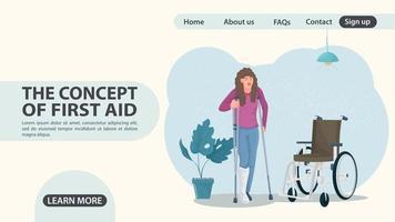 uma garota de muletas ao lado de um design de página da web para cadeiras de rodas vetor