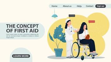 enfermeira rola uma menina em uma cadeira de rodas conceito de design de página da web plana vetor