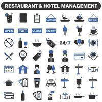 ícones de gestão de restaurantes e hotéis vetor