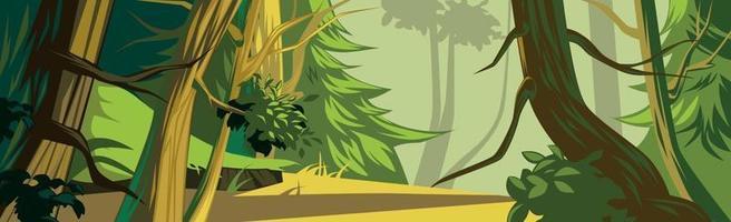 panorâmica realista ensolarada densa floresta mista - vetor