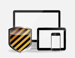 ícone de segurança de internet e conjunto de celular e tablet pc vetor
