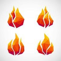 ícones de fogo de baixo poli. ilustração vetorial vetor