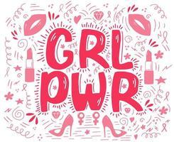 letras de poder feminino com fitas cor de rosa, lábios, batom, estiletes vetor