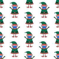 Natal sem costura padrão feito de elfo em máscara médica vetor