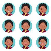 avatar indiano com várias expressões vetor