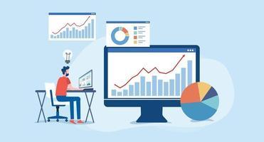 análise e monitoramento da equipe de pessoas no monitor do painel de relatórios da web vetor
