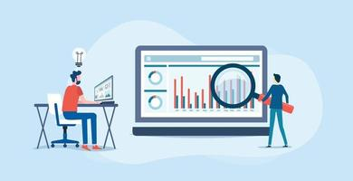 análise e monitoramento no conceito de monitor de painel de relatório da web vetor