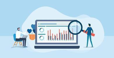análise de pessoas de negócios e monitoramento no painel de relatórios da web vetor