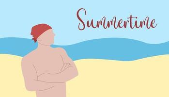cartaz de vetor de verão. homem de bandana com torso nu, em pé na praia à beira-mar. texto de verão