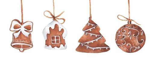 conjunto de biscoitos de gengibre de Natal. ilustração em aquarela vetor