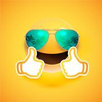 Emoticon realista com óculos de sol e polegares para cima, ilustração vetorial
