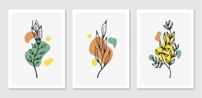desenho de arte de parede botânica com forma abstrata minimalista vetor