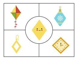 aprender formas geométricas básicas para crianças. losango fofo. vetor