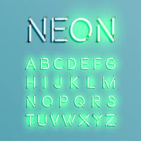 Conjunto de fontes de caracteres de néon realista, ilustração vetorial