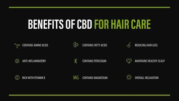 benefícios do cbd para cuidados com os cabelos, pôster infográfico preto vetor