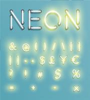 Personagem de néon realista typeset, vector