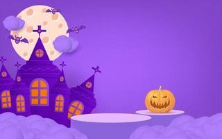 Banner de halloween 3D com pódio, abóbora, morcego. vetor