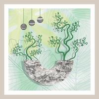 arte botânica abstrata natural com pedra e folhas tropicais vetor